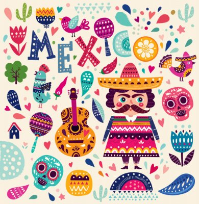 Plakát Vzor se symboly Mexika