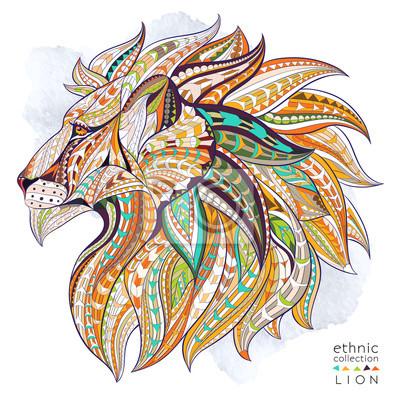 Plakát Vzorované hlava lva na pozadí grunge. Africká / Ind / totem / tetování design. To může být použit pro návrh trička, tašky, pohlednice, plakát a tak dále.