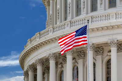 Plakát Washington DC Capitol detail na zatažené obloze