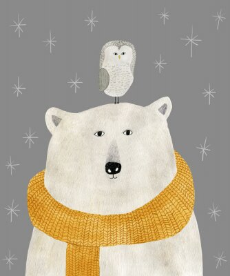 Plakát watercolor and pencil drawing of a polar bear with an owl on his head. Christmas illustration