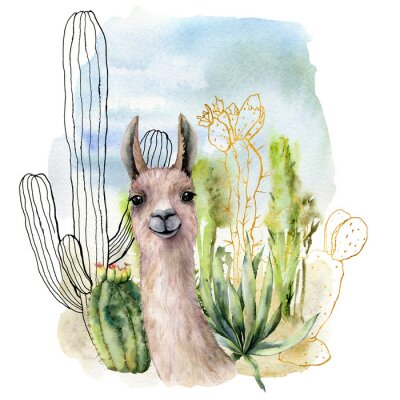 Plakát Watercolor and sketch desert landscapes card with lama. Hand painted golden and black mexican cactus, sky and clouds. Botanical illustration isolated on white background for design, print, fabric.