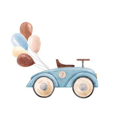 Plakát Watercolor baby car illustration