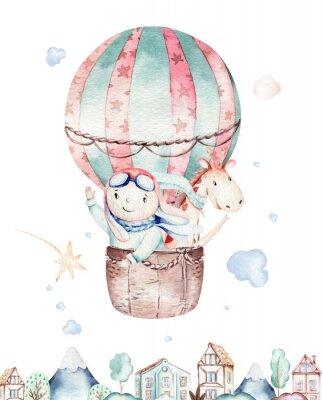Plakát Watercolor balloon set baby cartoon cute pilot aviation illustration. sky transport balloons with giraffe and elephant, koala, bear and bird, clouds. childish baby boy shower illustration