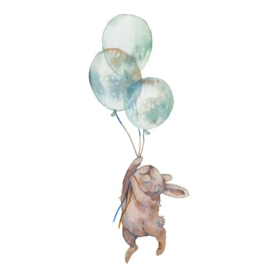 Plakát Watercolor bunny with air balloons illustration. Hand painted rabbit fly. Cute animal isolated on white background. Cartoon hare in boho chic style