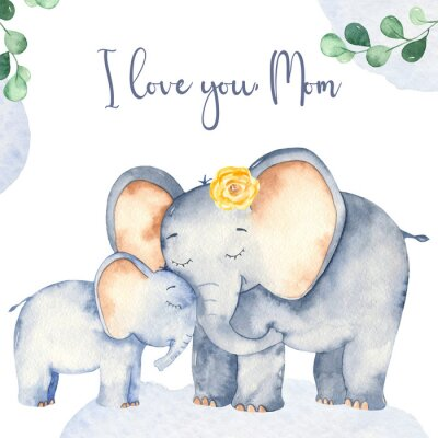 Plakát Watercolor card with cute cartoon Mother's Day elephants
