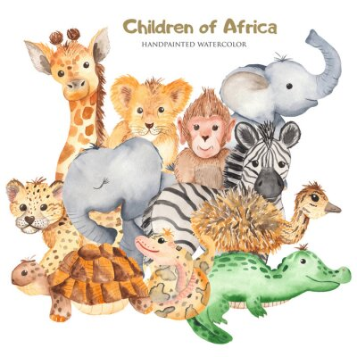 Plakát Watercolor card with cute characters of African animals. Template for invitation, greeting card, party, baby shower, children's clothing and design.