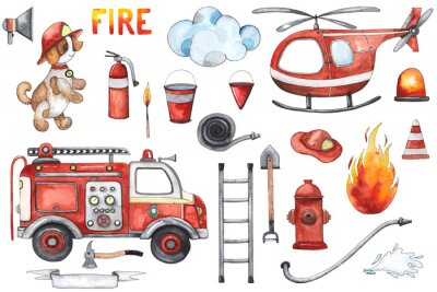 Plakát Watercolor cartoon cute set Firefighting and fire safety equipment illustration. Fire truck, helicopter, dog, helmet, hose, column, fire extinguisher. Baby shower red colorful clip art