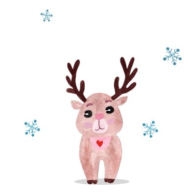 Plakát Watercolor christmas illustration with holiday deer