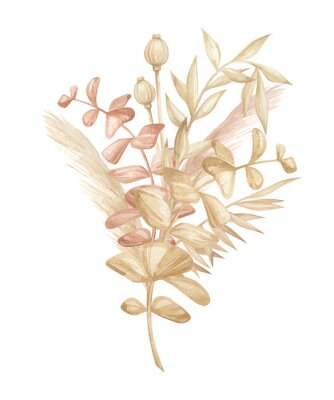 Plakát Watercolor composition with plants and leaves in pastel color. Aesthetic gently bouquet in boho style with palm leaf, eucalyptus, foliage, nature element. Illustration for wedding, business card.