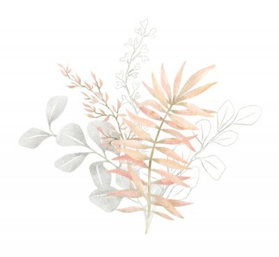 Plakát Watercolor composition with plants and leaves in pastel pink color. Aesthetic gently bouquet in boho style with palm leaf, eucalyptus, foliage, nature element. Illustration for wedding, business card.