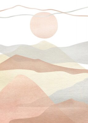 Plakát Watercolor creative minimalist hand painted landscape composition, mountains. Abstract modern print, poster, for wall decoration, card or brochure cover design. Aesthetic trendy illustration