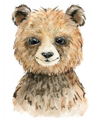Plakát Watercolor cute bear.