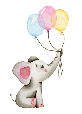 Plakát Watercolor cute elephant holds the trunk of multi-colored balloons isolated on white background.