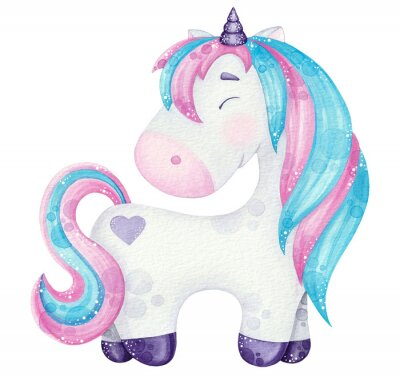 Plakát watercolor cute Unicorn illustrations  pink and blue isolated on white