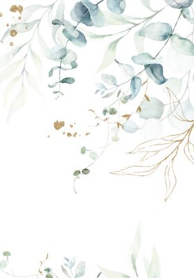 Plakát Watercolor floral illustration with gold branches - green leaf frame / border, for wedding stationary, greetings, wallpapers, fashion, background. Eucalyptus, olive, green leaves, etc.