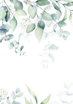 Plakát Watercolor floral illustration with green branches & leaves - frame / border, for wedding stationary, greetings, wallpapers, fashion, background. Eucalyptus, olive, green leaves, etc.