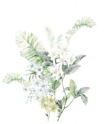 Plakát Watercolor flowers illustration