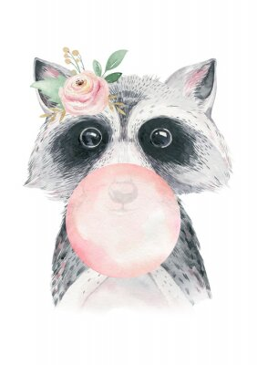 Plakát Watercolor forest cartoon isolated cute baby raccoon, animal with flowers. Nursery woodland illustration. Bohemian boho drawing for nursery poster, pattern