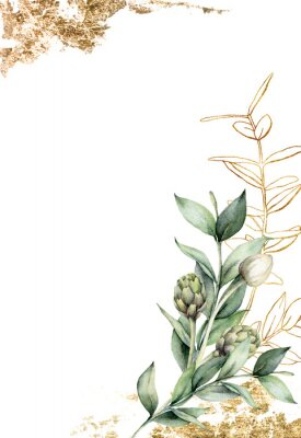 Plakát Watercolor golden card with linear branch and artichoke. Hand painted holiday card with green eucalyptus leaves and bud on white background. Spring illustration for design, print, fabric, background.