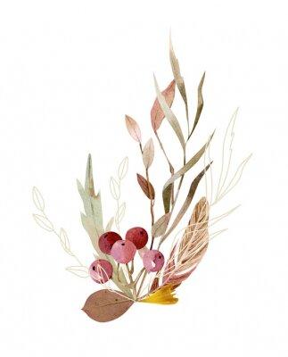 Plakát Watercolor hand painted composition - arrangement, bouquet. Soft gentle color palette.