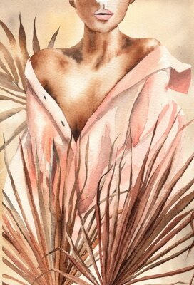 Plakát Watercolor illustration.  Beautiful woman or girl in a shirt with dry palm leaves.  African American, African.  Design for cards, paper, weddings, invitations, scrapbooking, poster, invitations