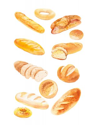 Plakát Watercolor illustration of different buns and bread. Isolated on white background