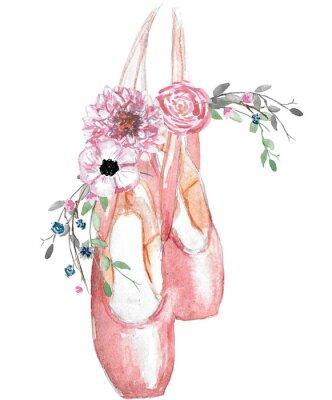 Plakát Watercolor illustration of pointe shoes with a floral arrangement