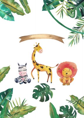 Plakát Watercolor invitation with wild animals and jungle leaves. Children hand-drawn illustration