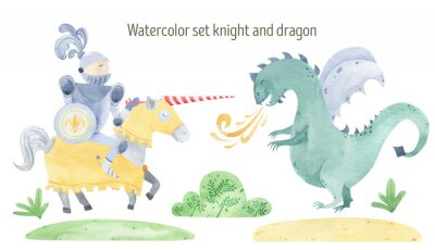 Plakát Watercolor knight and dragon duel