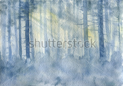Plakát watercolor landscape with mist and trees trunks, cobweb morning, fog in a forest, hand drawn illustration, nature background