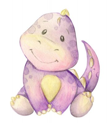 Plakát watercolor,  little dinosaur. pink. isolated
