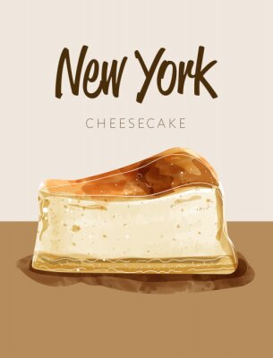 Plakát Watercolor paining in retro style of new york cheesecake.  Design for printing, postcard, menu, and others. Vector illustration.