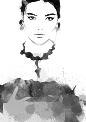 Plakát Watercolor painting fashion woman black and white