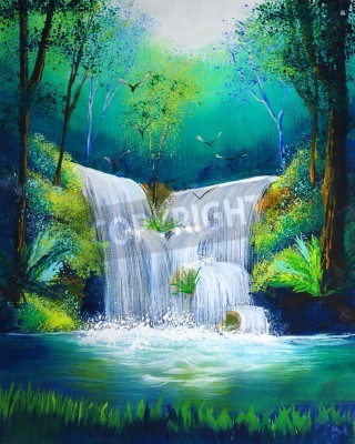 Plakát watercolor painting of waterfall