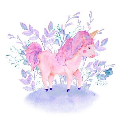 Plakát watercolor pink, lilac unicorn composition with flowers