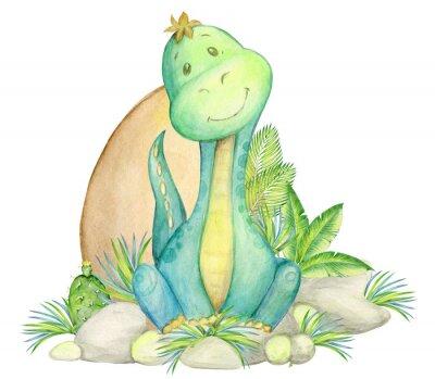 Plakát watercolor, seamless pattern. little dinosaur. isolated