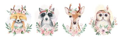 Plakát Watercolor set of forest cartoon isolated cute baby fox, deer, raccoon and owl animal with flowers. Nursery woodland illustration. Bohemian boho drawing for nursery poster, pattern