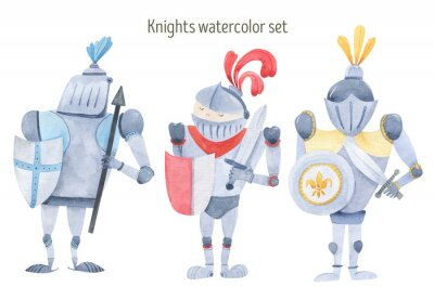 Plakát Watercolor set of knights swords, shields, armor