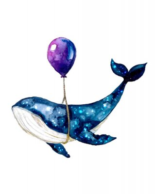 Plakát Watercolor sketch blue whale. Illustration isolated on white background for design,print or background. cosmic texture with balloon. Night starry sky with paint strokes and swashes