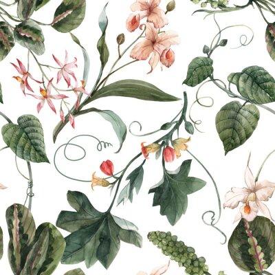 Plakát Watercolor tropical seamless pattern