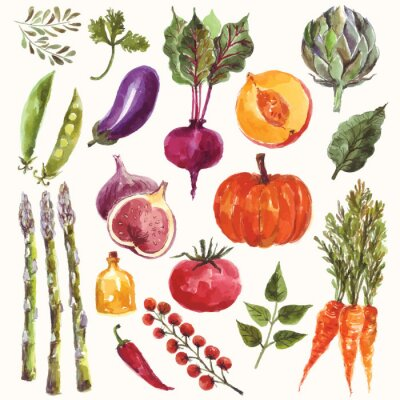 Plakát Watercolor vegetables and fruit