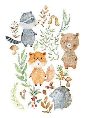 Plakát Watercolor woodland arrangements.