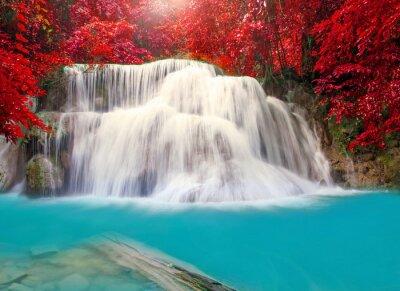 Plakát Waterfall in deep rain forest jungle (Huay Mae Kamin Waterfall i