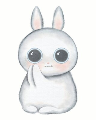 Plakát White kawaii cartoon cute little rabbit with big eyes isolated on white background. Watercolor hand drawn illustration