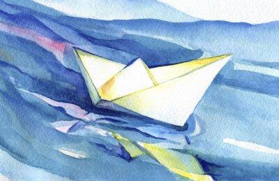 Plakát White paper loď pluje na vlnách. Akvarel z lodi a mořské vody.