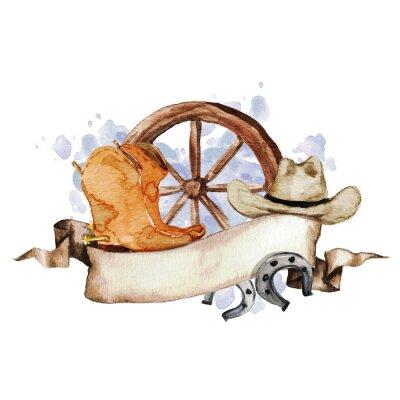 Plakát Wild West akvarel Štítek s prostorem pro text