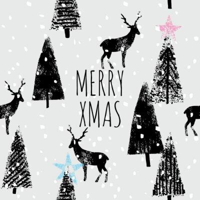 Plakát winter forest hand drawn trendy pattern