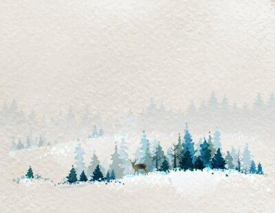 Plakát winter landscape with fir forests and deer