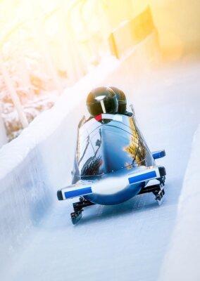 Plakát Wintersport - Zweierbob im Eiskanal