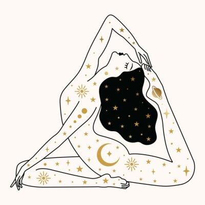 Plakát Woman doing Yoga Illustration in Vector.